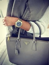 sweater,blue sweater,grey sweater,jewels,watch,grey,bag,charcoal,prada,prada bag,michael kors watch,gold watch