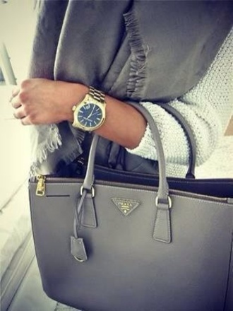 sweater blue sweater grey sweater jewels watch grey bag charcoal prada prada bag michael kors watch gold watch