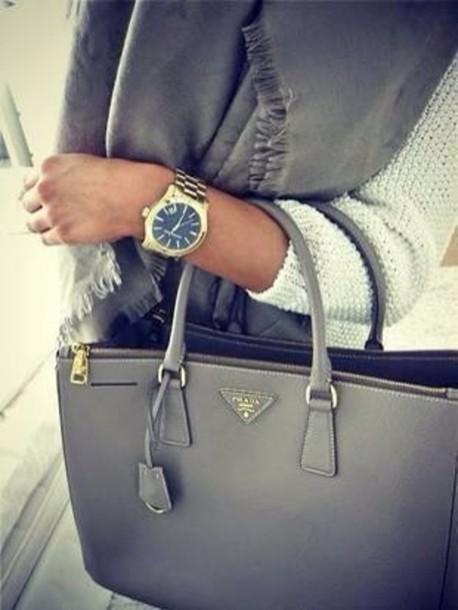 sweater blue sweater grey sweater jewels watch grey bag charcoal prada prada bag michael kors watch gold watch