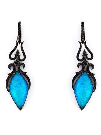 long earrings black jewels