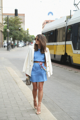 seams for a desire blogger jacket scarf belt bag denim dress white blazer lace up heels mini bag grey bag