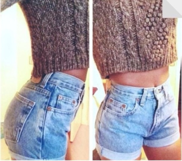 Shorts: light blue, tight, high waisted shorts, denim, sweater ...