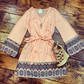 dress,pink boho,cute dress,patterned dress,spring dress,shoes,wedges,sequin dress,boho,pretty,sleeves,style,sequins,long sleeves