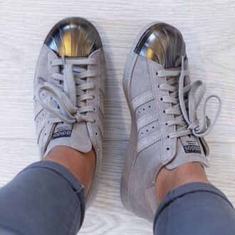 shoes adidas superstars addidas superstars sneakers adidas superstar grey silver adidas shoes metallic shoes addidas #shelltoes #gray shorts adidas metal toes suede sneakers low top sneakers metallic metallic toe suede