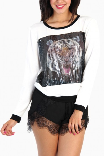 LoveMelrose.com From Harry & Molly | Tiger Print Sequin Sweater - White / Black