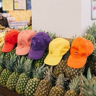 hat cap red pink orange yellow purple summer spring teenagers cute fruits boogzel