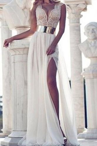 dress white lace prom maxi fashion style wedding slit dress summer zaful white dress prom dress white prom dress