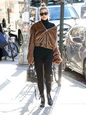 jacket,hailey baldwin,model off-duty,streetstyle,boots,turtleneck,jumpsuit