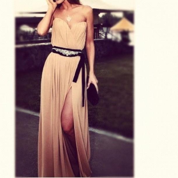 dress beige long dress sleeveless black belt tie leg slit loose