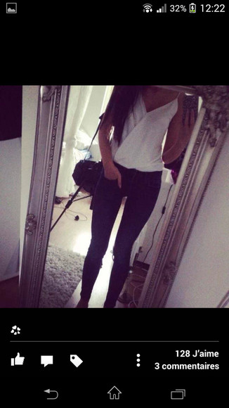 blouse white blouse black bags black jeans