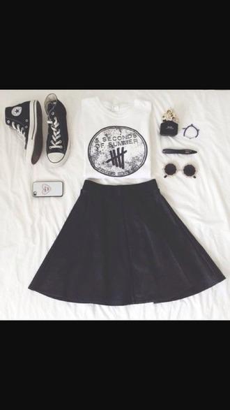 shirt white t-shirt 5 sos shirt black white black skirt skater skirt i guess idk converse