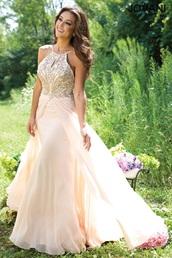 dress,nude dress,jovani prom dress,prom dress,high neck line,white dress,sparkle,gold sparkle dreas,strappy,flowy,tan color,cream,flawless,prom,sweet 16 dresses,pretty,stunning dress,stunning prom dress,chiffon prom dress,sleeveless prom dress,white prom dress,long prom dress,2016 prom dress