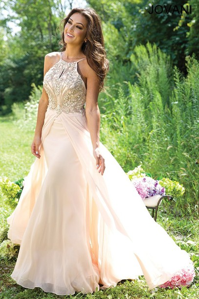 dress nude dress jovani prom dress prom dress high neck line white dress sparkle gold sparkle dreas strappy flowy tan color cream flawless prom sweet 16 dresses pretty stunning dress stunning prom dress chiffon prom dress sleeveless prom dress white prom dress long prom dress 2016 prom dress gorgeous dress halter top gold dress