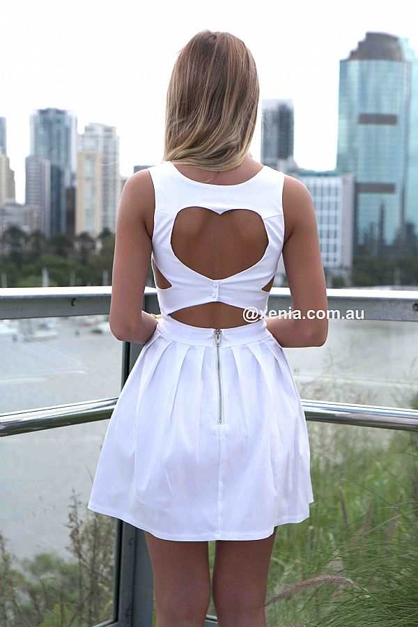 HEART CUT OUT DRESS  , DRESSES, TOPS, BOTTOMS, JACKETS & JUMPERS, ACCESSORIES, SALE, PRE ORDER, NEW ARRIVALS, PLAYSUIT, COLOUR, GIFT CERTIFICATE,,White,CUT OUT Australia, Queensland, Brisbane