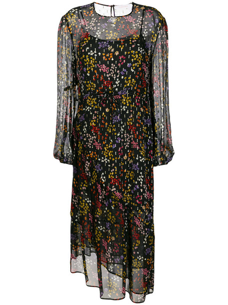See by Chloe dress midi dress sheer metallic women midi floral black silk