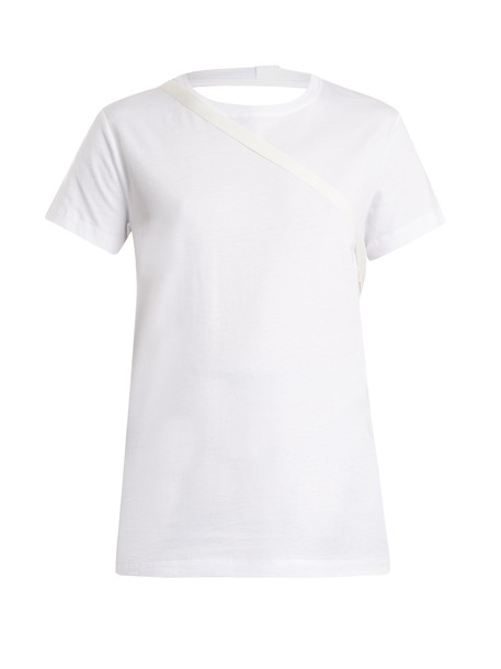 Helmut Lang t-shirt shirt cotton t-shirt t-shirt back open cotton white top