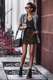 fashionedchic,blogger,skirt,t-shirt,jacket,shoes,bag,jewels,blazer,chanel bag,boots,peep toe boots,spring outfits