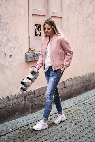 jacket nike huarache nike air force pink bomber jacket blue jeans denim casual outfit street style pastel beautiful leather white shirt pink bomber jacket ripped jeans white sneakers blogger