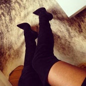 boots,pointed toe heels,thigh high boots,suede,stilettos,high heels,heels,over the knee,thigh highs,classy,style,party,shoes,suede black pointy over the knee boots