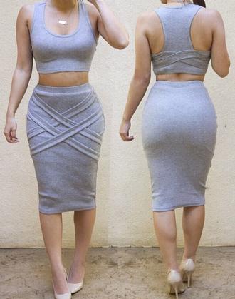 dress two piece dress set skirt crop tops cropped crop grey grey dress summer dress summer outfits summer top top sleeveless dress girly wishlist girly