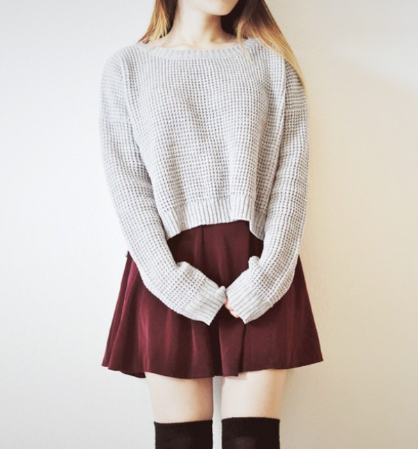 jumper streetstyle stylemoi burgundy grey skater skirt knitted cardigan cropped sweater