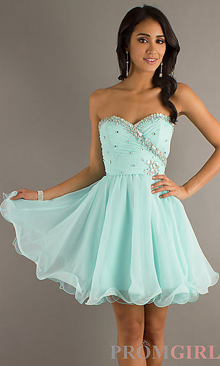Short Strapless Prom Dresses, Babydoll Party Dresses- PromGirl