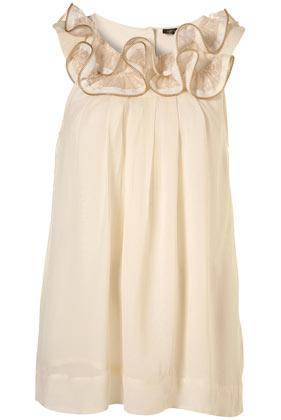 Cream Chiffon Zip Swing Frill Neck Blouse - Tops - Clothing - Topshop