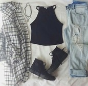 top,shoes,blouse,ripped jeans,jeans,denim,style,grunge,jewels,plaid flannels,plaid shirt,distressed denim jeans,ripped,black,camisole,high top sneakers,trainers,sneakers,jelewry,necklace