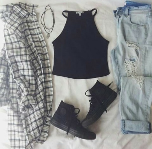 top shoes blouse ripped jeans jeans denim style grunge jewels plaid flannels ripped jeans plaid shirt distressed denim jeans ripped black camisole high top sneakers trainers sneakers jelewry necklace