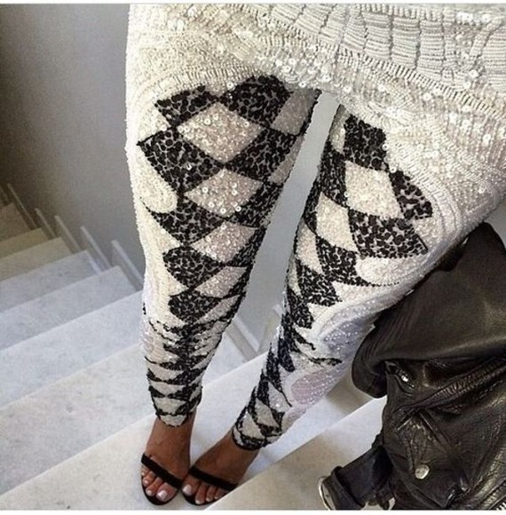 printed leggings leggings print monochrome black and white sequins diamonds pants jeans material brand