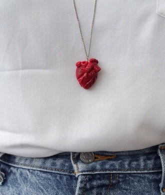 jewels heart heart jewelry red heart necklace human heart human heart necklace human heart charm heart charm