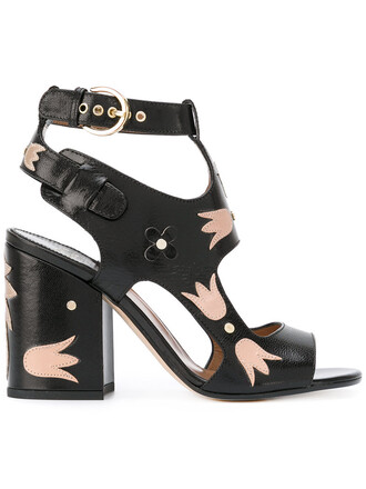 chunky sandals cut-out women sandals leather black shoes