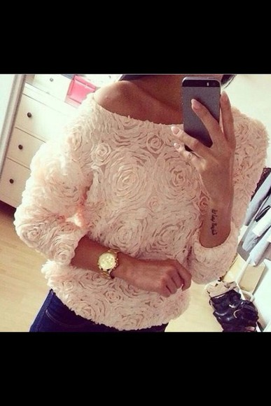 oversized top chiffon blouse roses, jumper pink