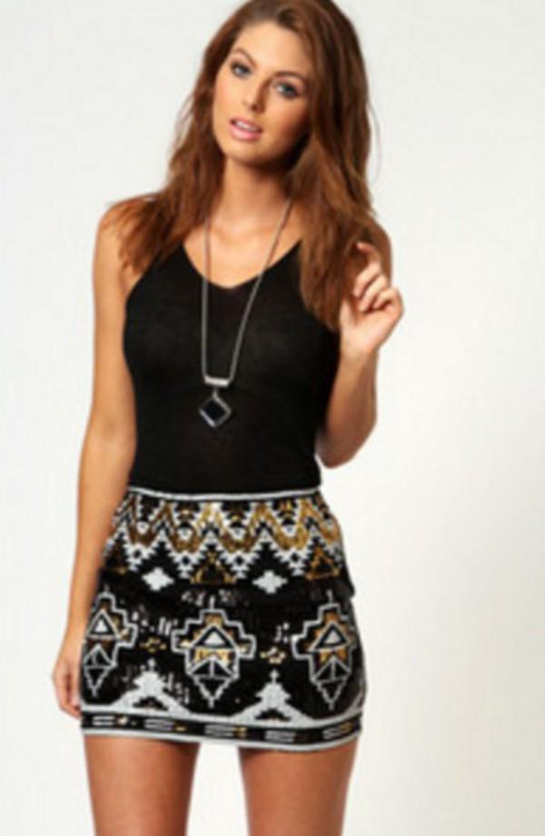 Skirt: sequins, sparkle, sequins, black, gold, silver, tank top ...