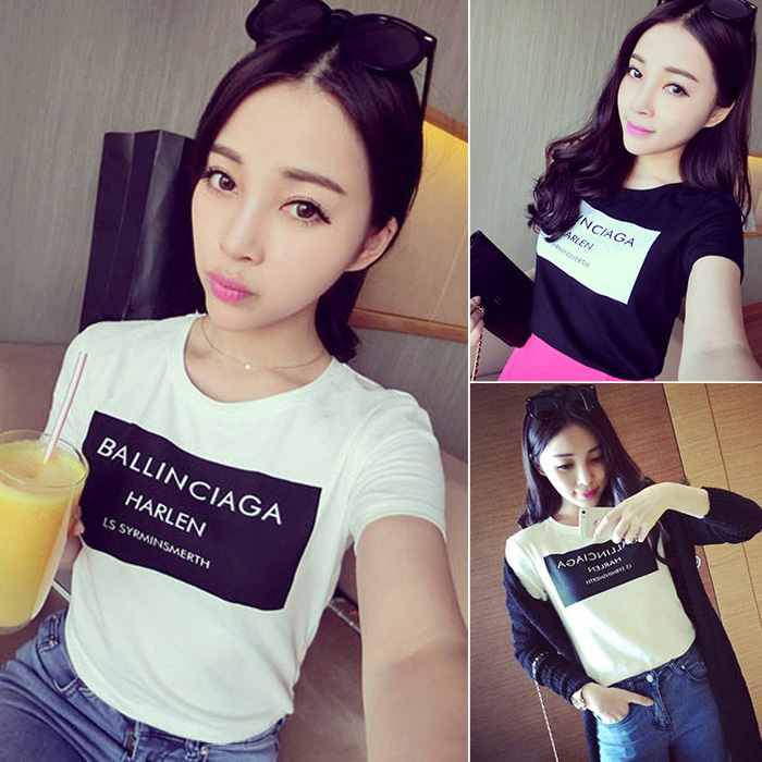 Women T shirt Spring Women's Letter Pentastar Cotton O neck Short sleeve T shirt Bouse Tops -inT-Shirts from Apparel & Accessories on Aliexpress.com