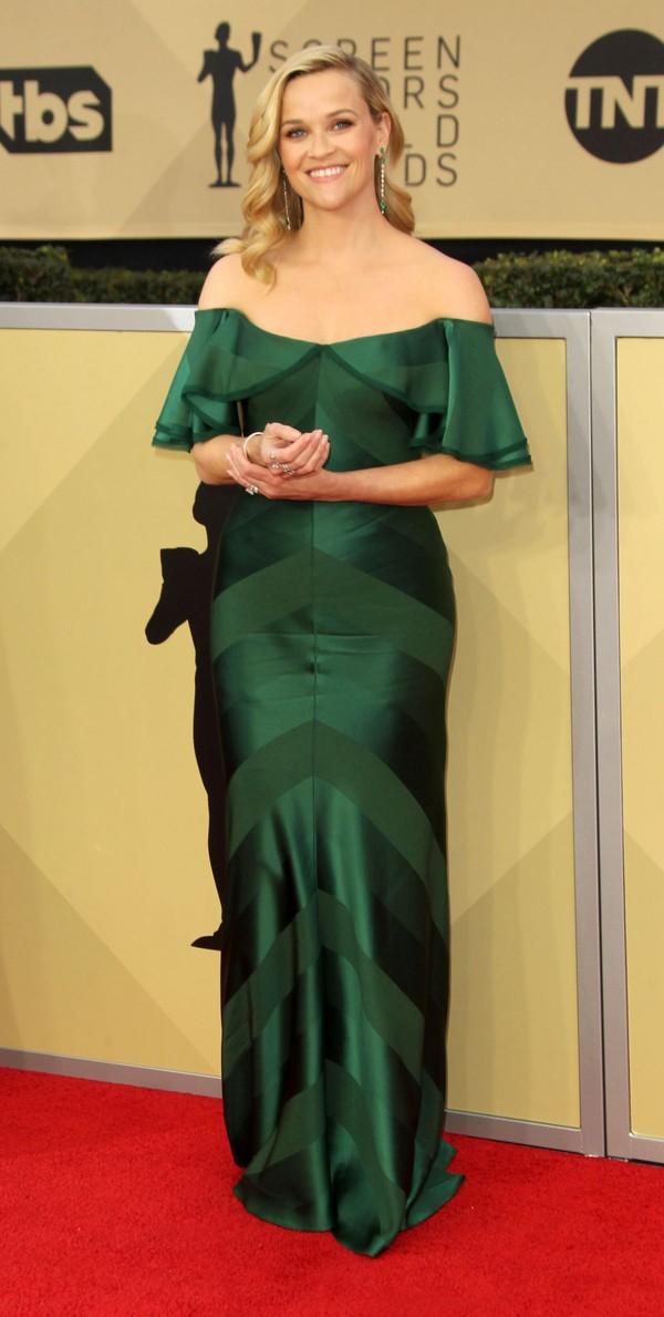 dress zac posen dress green dress reese witherspoon sag awards zacposen zac posen