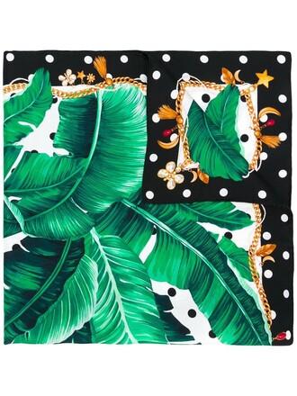 women scarf print silk green