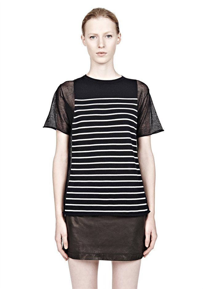 Ink And Ivory Short Sleeve Sheer Panel Stripe Tee - Alexander Wang