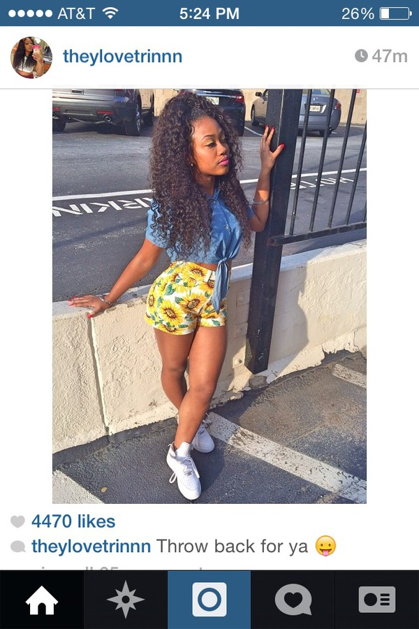 flowers yellow flowers denim jacket denim shorts sunflower denim shorts cute shorts cute ootd denim top tie up @theylovetrinn theylovetrin_ brazilian hair pretty girl fine ass girls