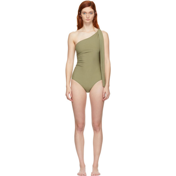 Lisa Marie Fernandez Green Arden Ruched Tie One-Piece Swimsuit