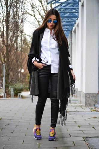 scarf sunglasses white shirt black scarf leather pants purple sneakers blogger
