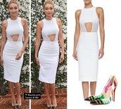 gigi hadid,white dress,louboutin,pointed toe,cut-out dress