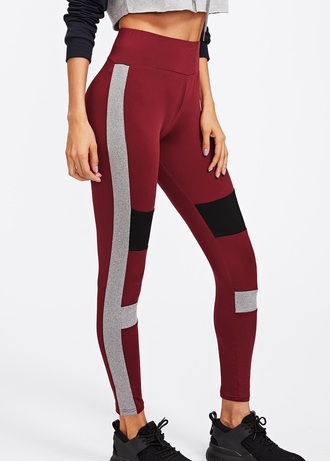 leggings girly red burgundy high waisted workout workout leggings tights black grey