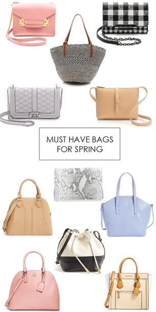 m loves m blogger bag blue bag gingham pink bag leather bag