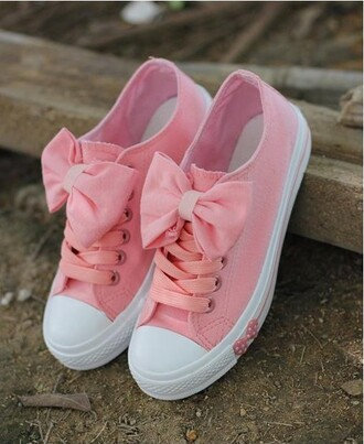 shoes bows pink sneakers tennis shoes fashion girly leggings