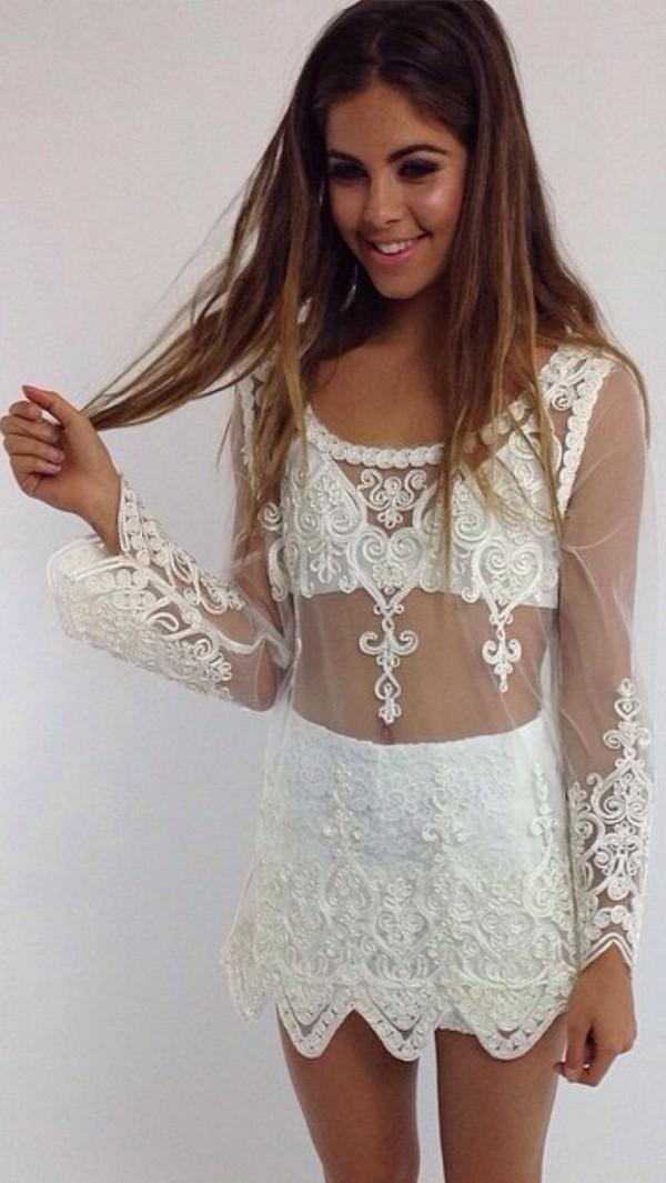 dress lace dress boho sheer underwear shorts shirt