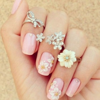 nail accessories nails flowers cute girly pink pink nails nail polish and rings jewels diamonds flower ring charming pretty pretty nails style nail color color nail polish nail stickers ring accessories accessory