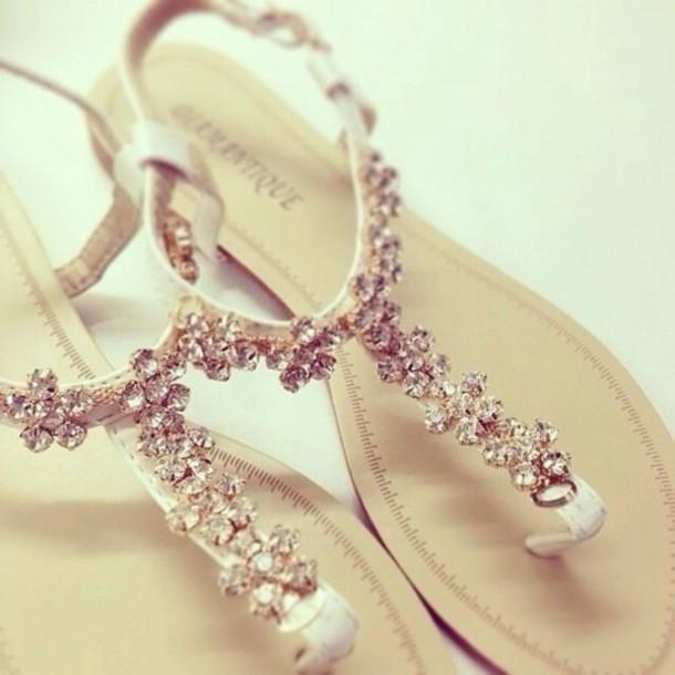 Wedding Shoes Accessories Diamonds Flat Sandals Elegant Beach Flats Summer