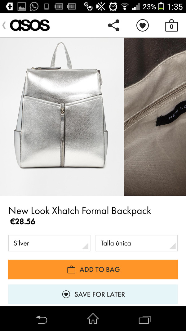 bag silver backpack metallic asos