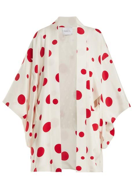 Racil jacket kimono jacket print silk white red